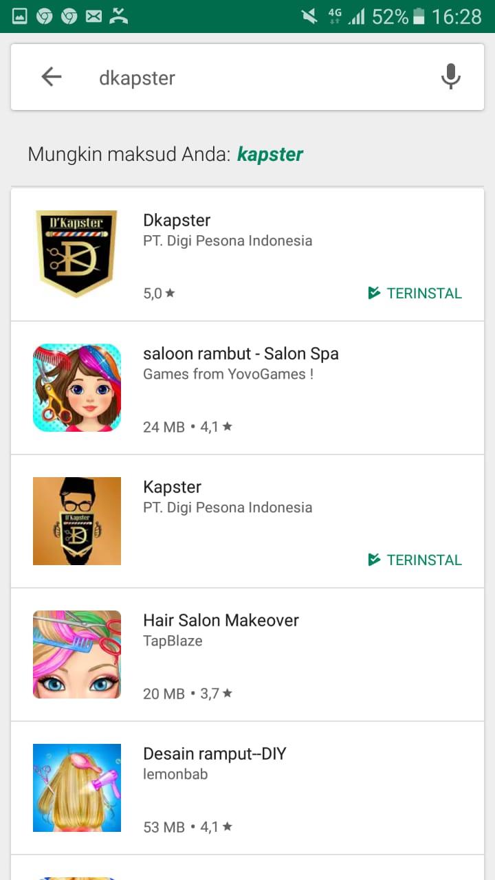 Aplikasi D'Kapster Sudah dapat bisa dirasakan di Google Play Store